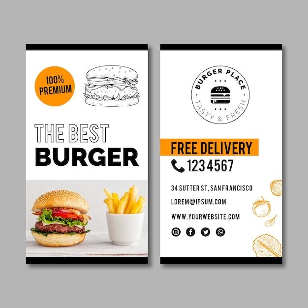 Modello di biglietto da visita di hamburger Vettore Premium