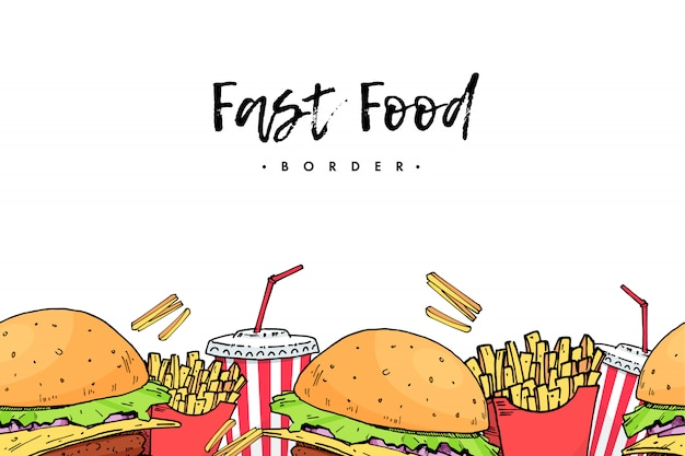 Burger. coca cola. senza patate. fast food colorato disegnare a mano Vettore Premium