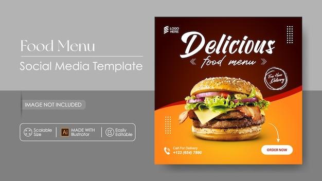 Burger food promozione sosial media e modello di progettazione instagram Vettore Premium
