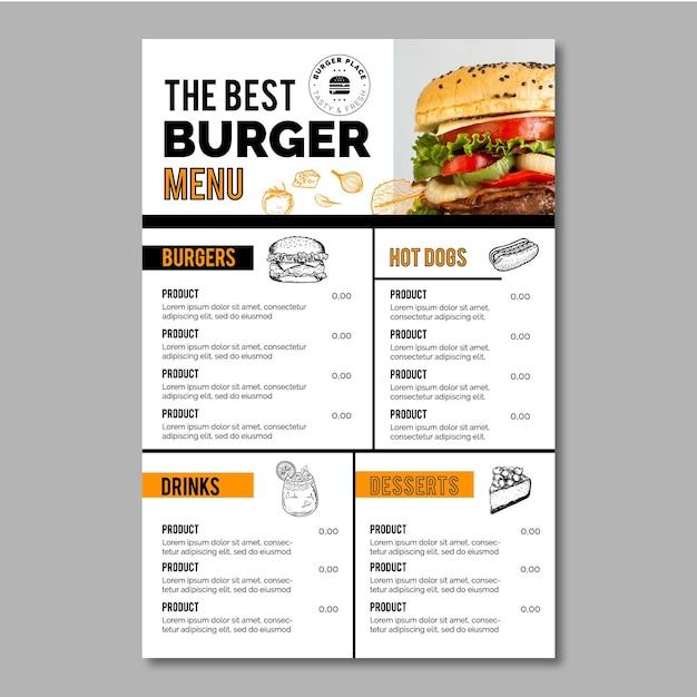 Modello di menu burger Vettore Premium