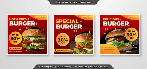 Modello di annunci di social media hamburger Vettore Premium