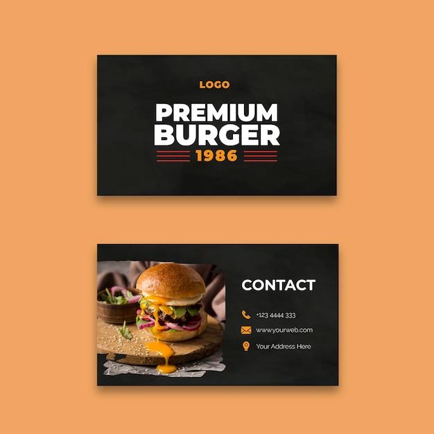 Modello di biglietto da visita del ristorante hamburger Vettore Premium