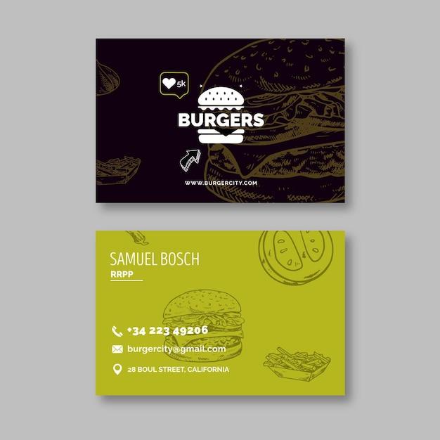 Biglietto da visita fronte-retro del ristorante hamburger Vettore Premium