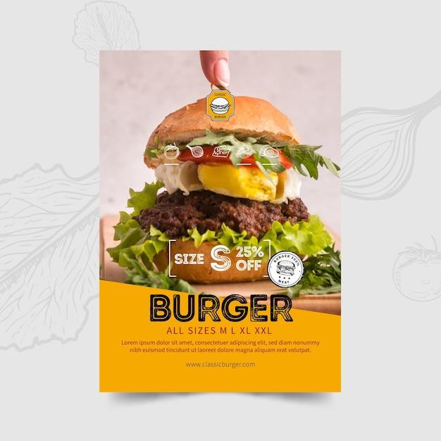 Modello di volantino ristorante hamburger Vettore Premium