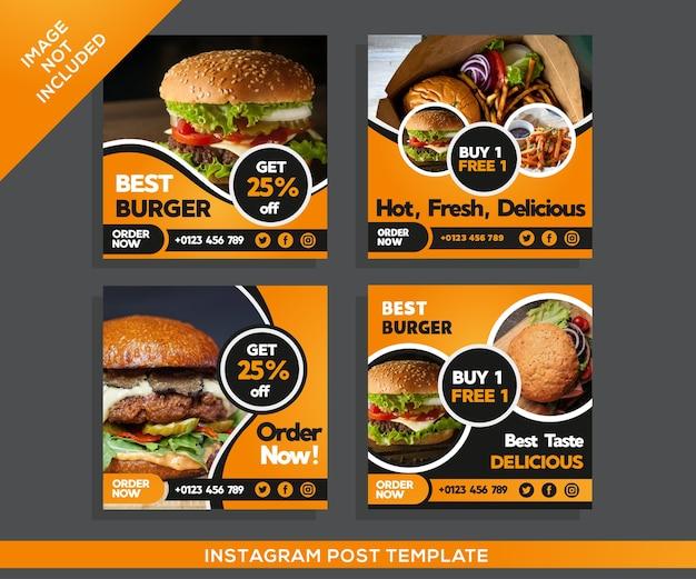 Post instagram ristorante hamburger Vettore Premium