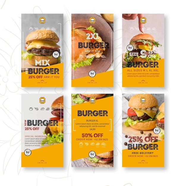 Storie di instagram del ristorante di hamburger Vettore Premium