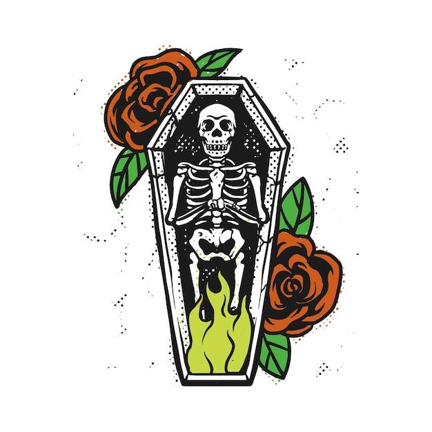 Brucia lo scheletro nella bara Vettore Premium