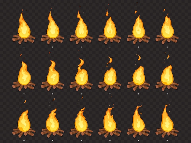 Animazione di falò in fiamme. cornici di sprite isolati fuoco caldo, falò all'aperto e falò fumetto Vettore Premium