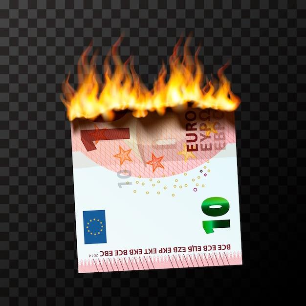 Manichino in fiamme di banconota da mezzo dieci euro strappato in due pezzi con fiamme di fuoco Vettore Premium