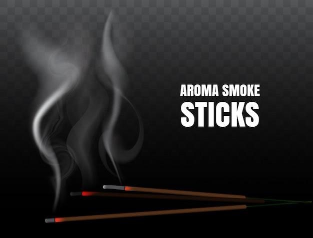 Bastoncini d'incenso di incenso indiano brucianti con fumo realistico su sfondo trasparente. illustrazione della preghiera buddista e meditazione del fuoco con un bastoncino di incenso aromatico Vettore Premium