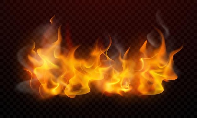 Le fiamme ardenti realistiche bruciano le scintille roventi Vettore Premium