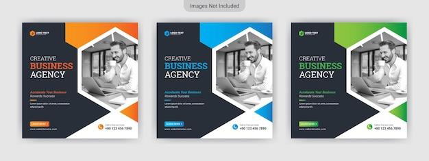 Modello di banner post social media agenzia di affari Vettore Premium