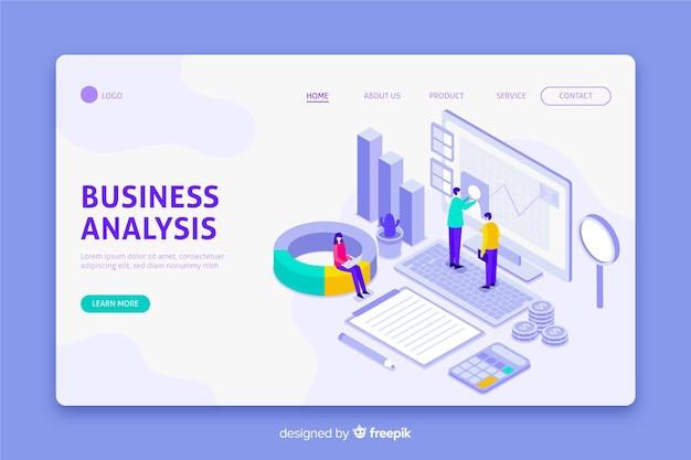 Pagina di destinazione di analisi commerciale nella progettazione isometrica Vettore Premium