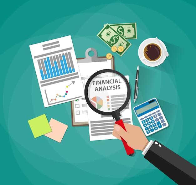 Analisi e pianificazione aziendale, relazione finanziaria Vettore Premium