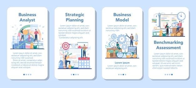 Set di banner di applicazioni mobili analista aziendale Vettore Premium