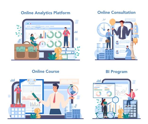 Servizio online di analista aziendale o set di piattaforme Vettore Premium