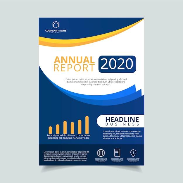 Modello del manifesto di affari relazione annuale 2020 Vettore Premium