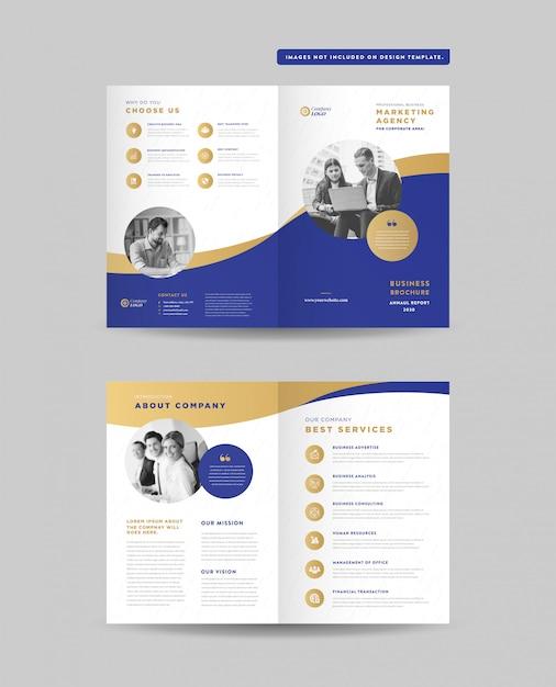 Progettazione di brochure pieghevoli aziendali | progettazione di opuscoli | documento di marketing e finanziario Vettore Premium