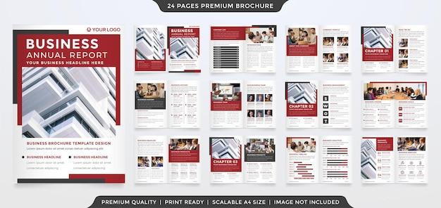 Modello di brochure aziendale bifold design con stile minimalista e concetto pulito Vettore Premium