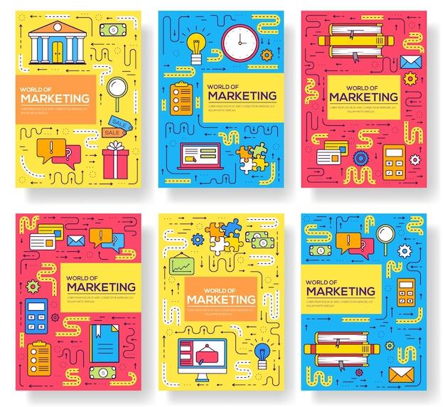 Set di linee sottili di carte brochure aziendali. modello di marketing di flyear, riviste, poster, copertine di libri, banner. illustrazioni del profilo del layout moderne Vettore Premium