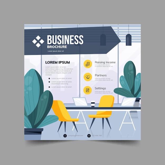 Volantino quadrato brochure aziendale Vettore Premium