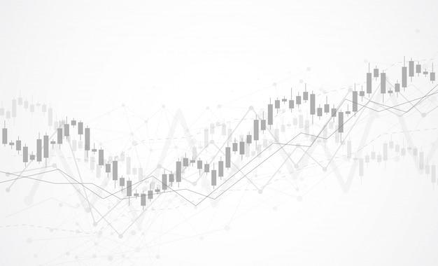 Grafico del grafico del bastone della candela di affari del mercato azionario Vettore Premium