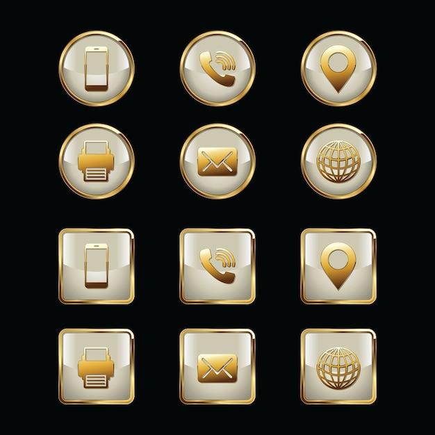 Biglietto da visita icon set illustrazione Vettore Premium