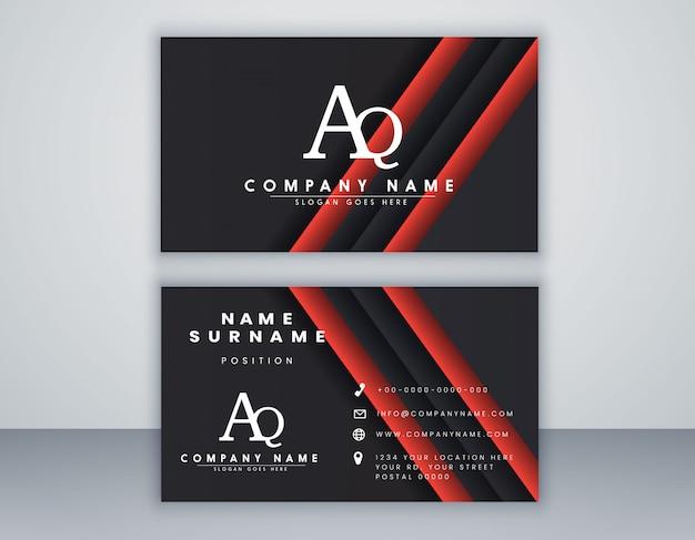 Modello di biglietto da visita con il concetto pulito composizione elegante elemento Vettore Premium