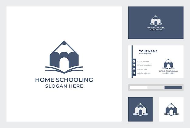 Modello di biglietto da visita con home schooling logo design pemium vector. Vettore Premium
