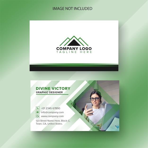 Biglietto da visita con dettagli verdi Vettore Premium