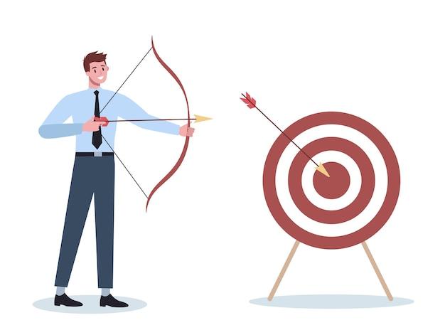 Carattere di affari che mira nel bersaglio e che spara con la freccia. il dipendente spara al bersaglio. uomo ambizioso di tiro. idea di successo e motivazione. Vettore Premium