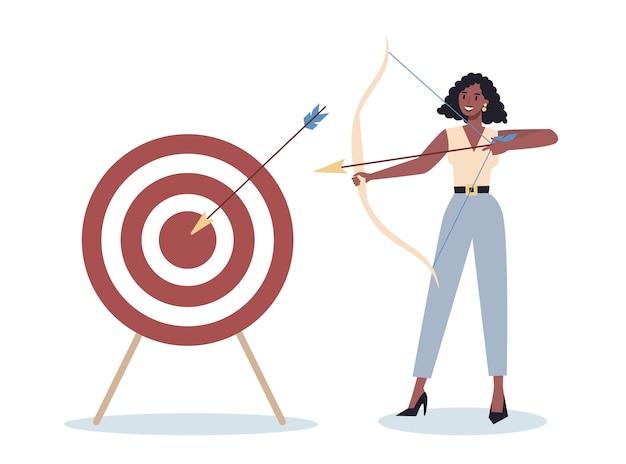 Carattere di affari che mira nel bersaglio e che spara con la freccia. il dipendente spara al bersaglio. donna ambiziosa di tiro. idea di successo e motivazione. Vettore Premium