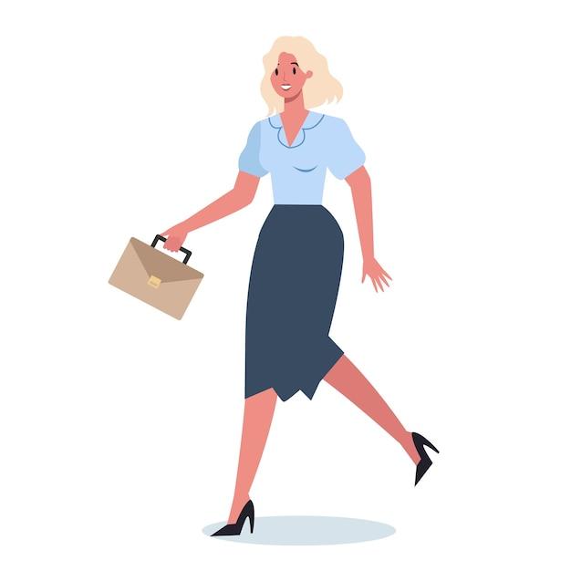 Carattere aziendale con valigetta in esecuzione. donna di affari che corre in fretta. impiegato felice e di successo in un vestito. Vettore Premium