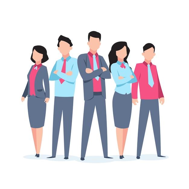 Lavoro di squadra di personaggi aziendali. ufficio persone aziendale dipendente fumetto lavoro di squadra comunicazione. illustrazione della squadra di affari Vettore Premium