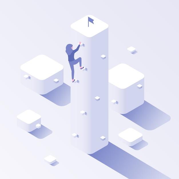 Obiettivo di arrampicata aziendale. illustrazione isometrica di concetto di successo di progresso, ambizione di crescita di carriera e sforzo di motivazione Vettore Premium