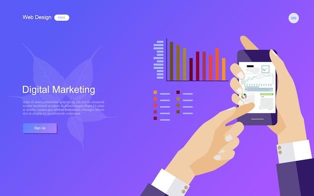 Concetto di business per il marketing digitale. Vettore Premium