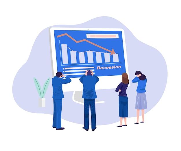 Illustrazione di concetto di affari. uomini d'affari sollecitati che esaminano diagramma di caduta. Vettore Premium