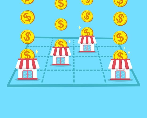 Il concetto di business fa soldi con il negozio in franchising Vettore Premium