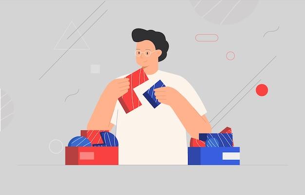 Concetto di affari. uomo che collega elementi di puzzle o pezzi di puzzle, forme astratte sullo sfondo. Vettore Premium