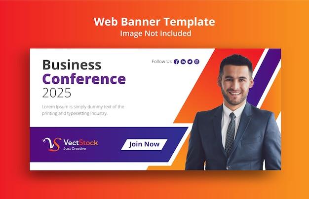 Modello di banner web concetto di conferenza di lavoro Vettore Premium