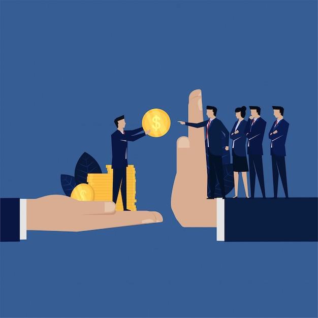 La corruzione aziendale dà soldi ai dirigenti che rifiutano. Vettore Premium