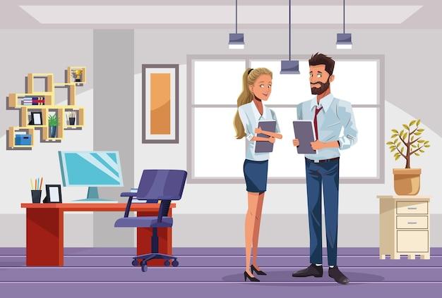 Lavoratori delle coppie di affari nell'illustrazione della scena del posto di lavoro Vettore Premium