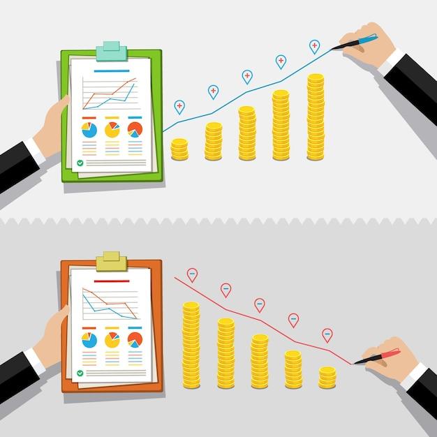 Crisi aziendale o grafico di recessione. la mano traccia una linea rossa sulle monete d'oro. Vettore Premium