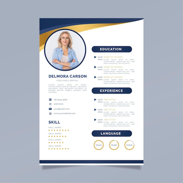 Modello di cv aziendale con foto Vettore Premium