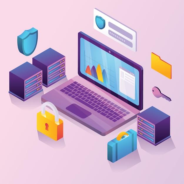 Illustrazione isometrica di sicurezza dei dati aziendali Vettore Premium