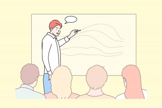 Affari, istruzione, presentazione, incontro, conferenza, concetto di formazione Vettore Premium
