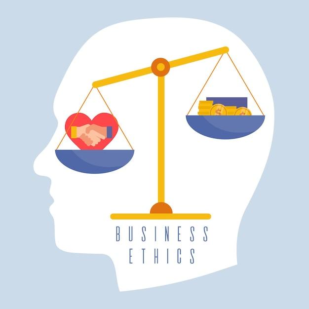 Illustrazione di concetto di etica aziendale con equilibrio Vettore Premium