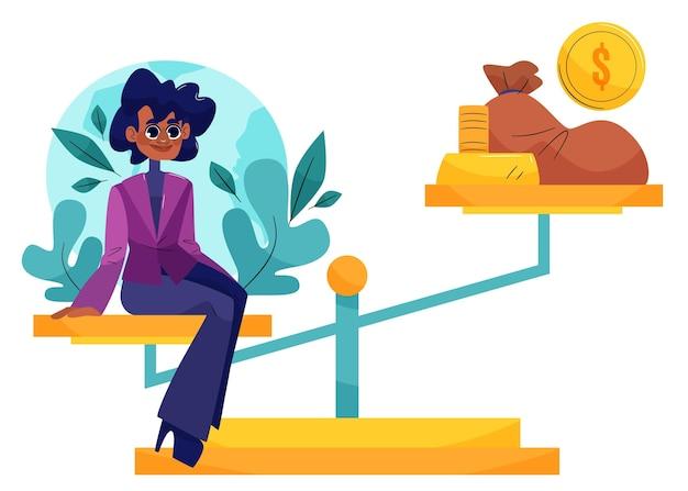 Illustrazione di concetto di etica aziendale con imprenditrice ed equilibrio Vettore Premium