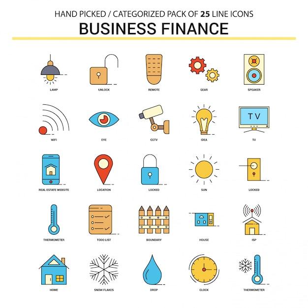 Set di icone piatto di finanza aziendale Vettore Premium