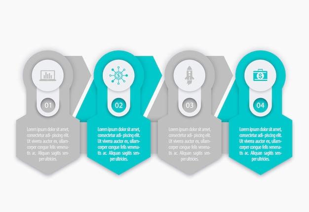 Affari, elementi di infografica finanza, 1, 2, 3, 4 passaggi, sequenza temporale Vettore Premium